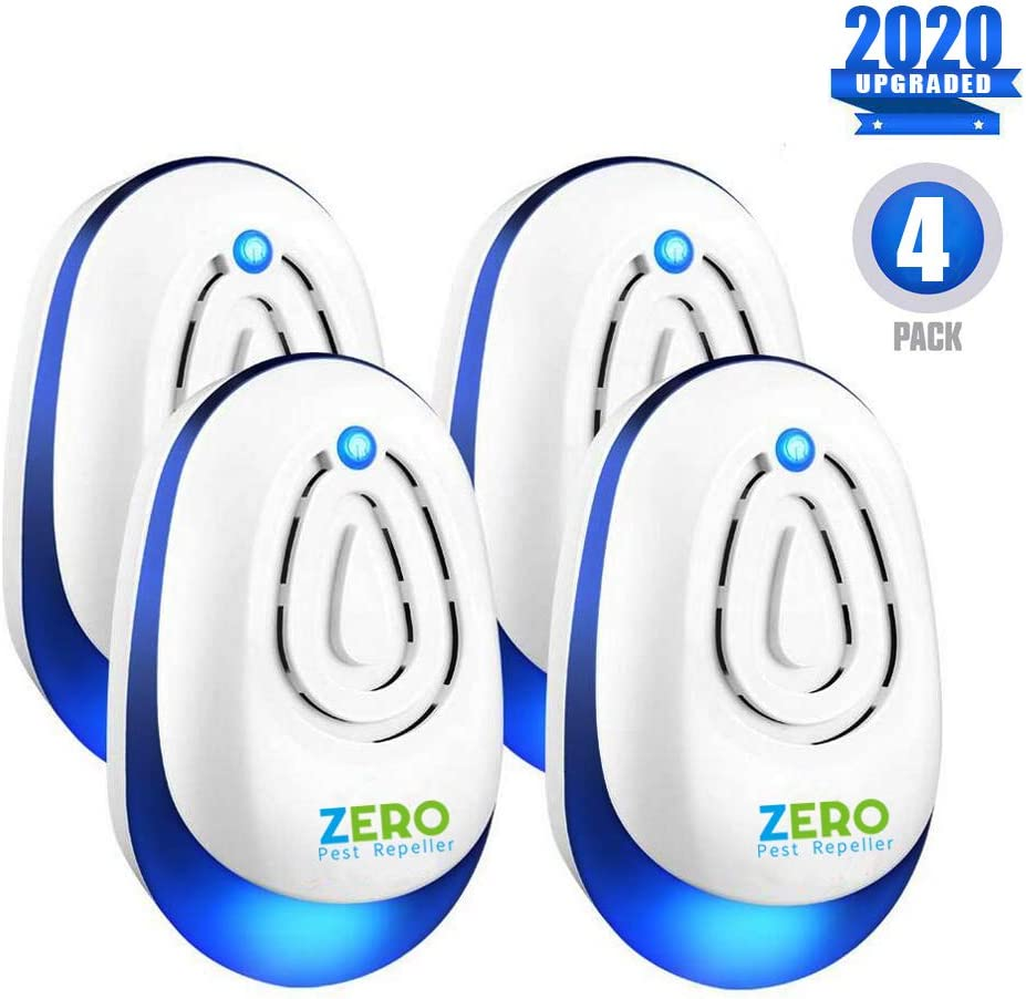 ZEROPEST, 2019 Upgraded 4 Pack Ultrasonic Pest Control Reject Devices Electronic in Repellent Defender Home Indoor for Rat Mosquito Mice Spider Ant ROA, 4PACK