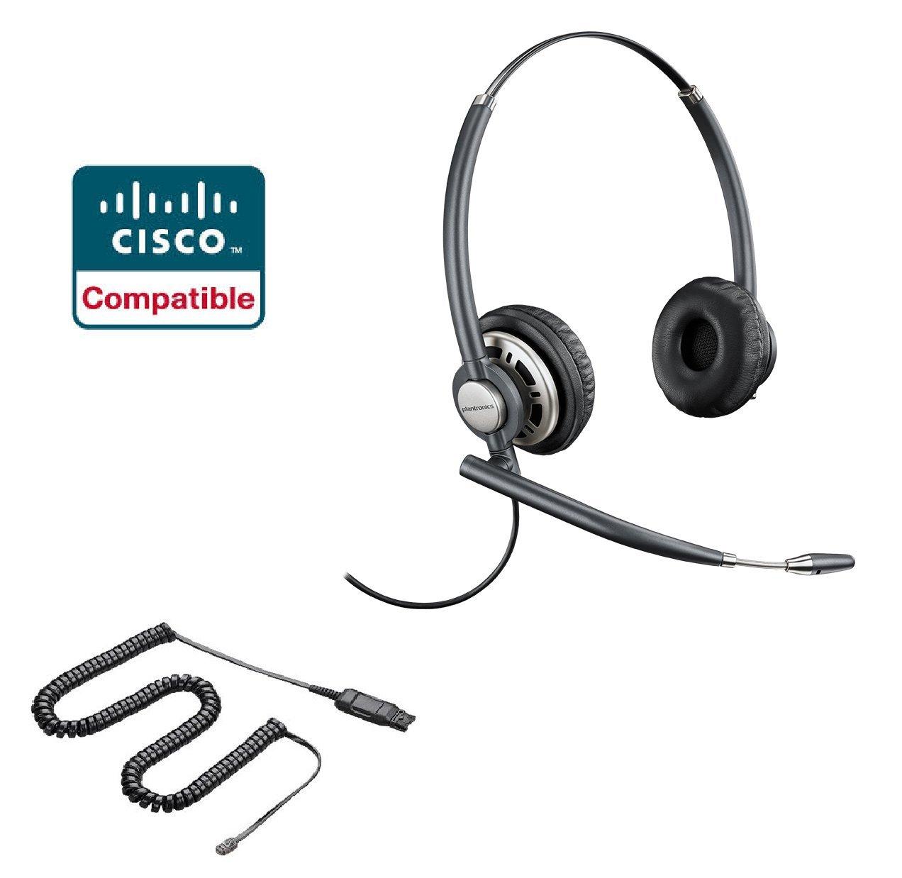 Cisco Compatible Plantronics EncorePro 720 HW720 Noise Canceling Direct Connect VoIP Headset Bundle Cisco 69xx, 78xx, 79xx, 89xx, 99xx Series Phone
