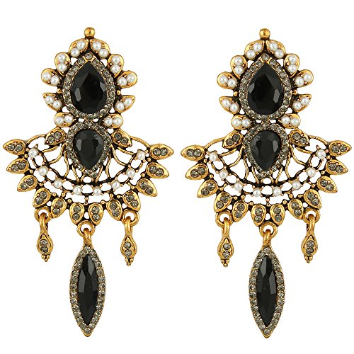 EleQueen Women's Antiqued-gold-tone Crystal Simulated Pearl Chandelier Art Deco Vintage Earrings Black