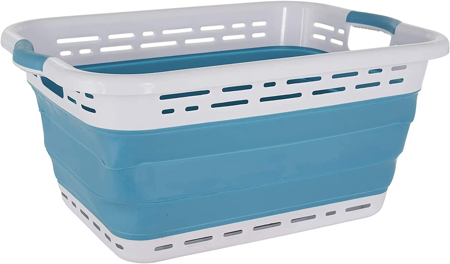 Black +Decker Collapsible Laundry Basket Plastic Storage Container Pop & Load Laundry Basket White & Blue (Pantone 7464C) Rubber