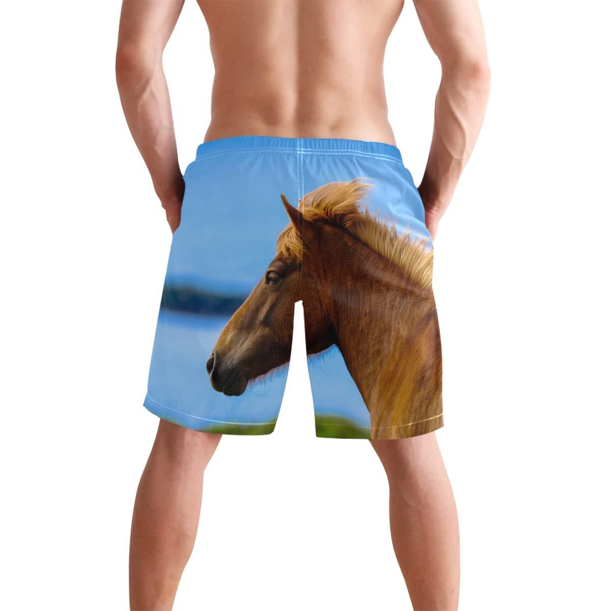 CiCily Men/'s Swim Trunks Brown Horse Beach Board Shorts Swimming Short Pants Running Sports Surffing Shorts