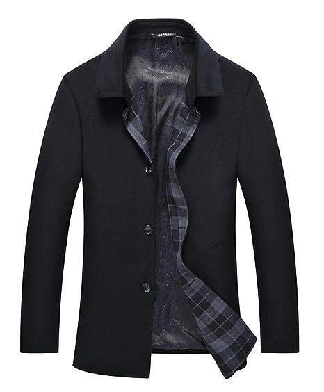 GHGJU Abrigo de Lana para Hombre Abrigo de Invierno Abrigo cálido Abrigo con Cuello de Solapa
