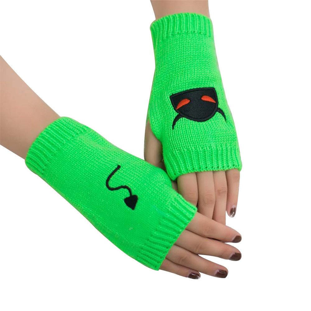 Bluelans Winter Wrist Arm Hand Warmer Plush Gloves Embroidery Half Hand Fingerless Gloves GLKU56RX9JI1156HAGSVA05