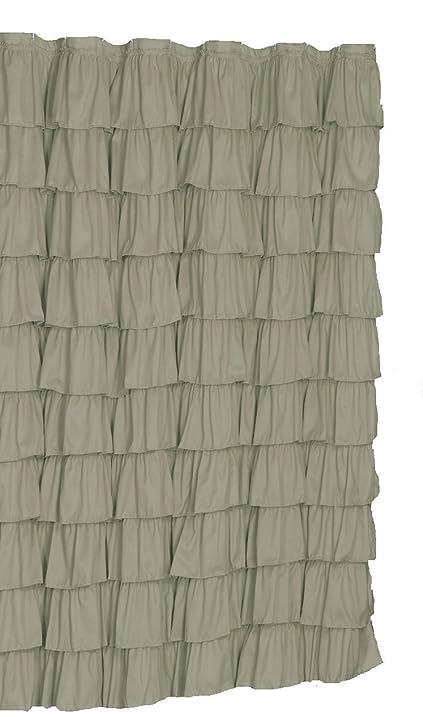 Ruffled Gray Fabric Shower Curtain