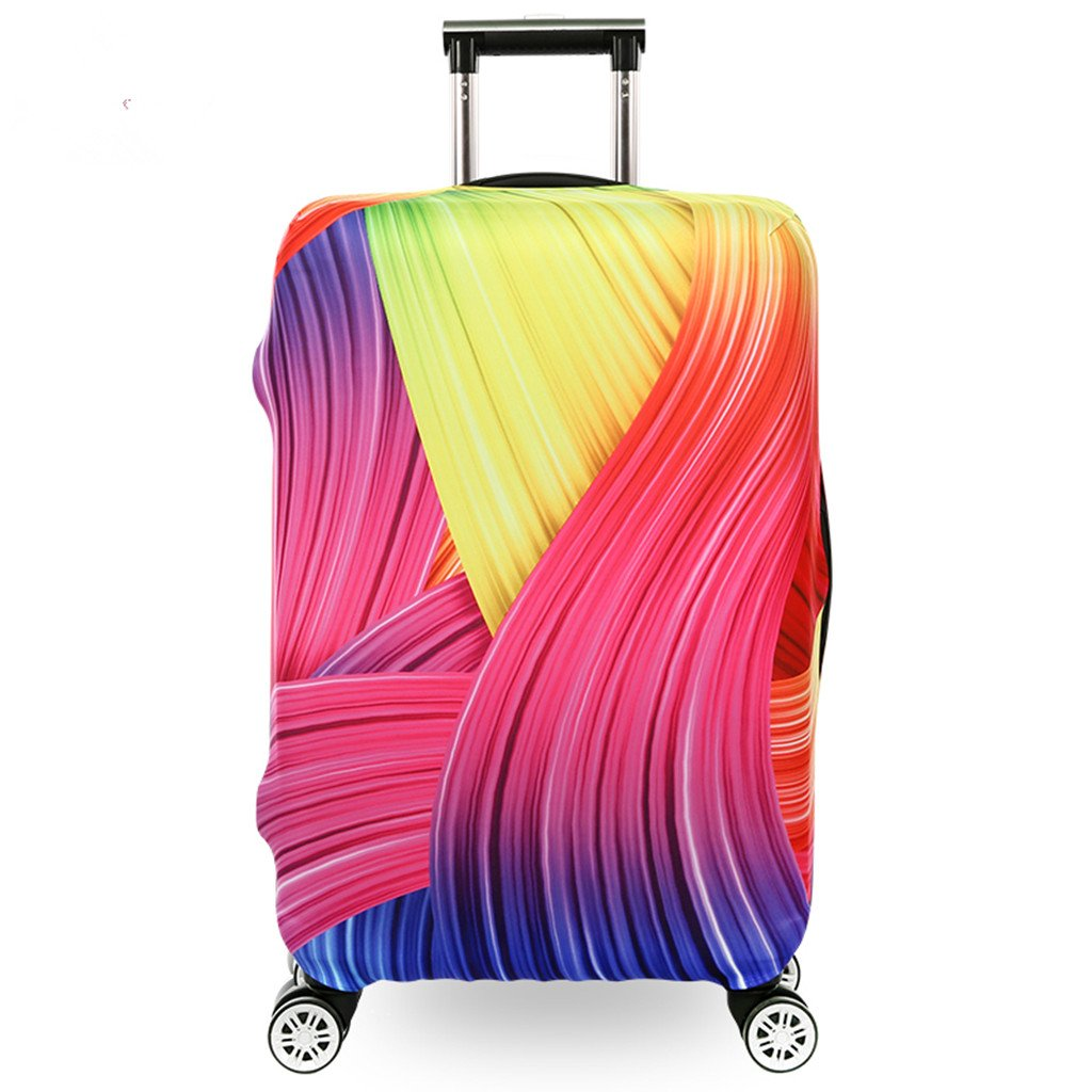 Fvstar Luggage Cover Washable Dustproof Travel Suitcase Cover Spandex Elastic Luggage Protector TSA Approved Baggage Protective Cover,Rainbow by Fvstar