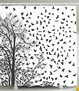 Pictures Black and White Shower Curtain Real Tree Birch Branches Decor for Bird Decoration Lover Natural Life Fall Themed Bathroom Design with Nature Pattern Art Prints in Novelty Fun Accessories