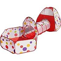 Meigirlxy Tunnel Tente Enfant Pop Up, Pliant Tente Jeu Maison de Jeux pour Enfants Exterieur / Intérieur avec Children Tent + Jeu Tunnel + Piscine a Boule ( BoulesNonIncluses )