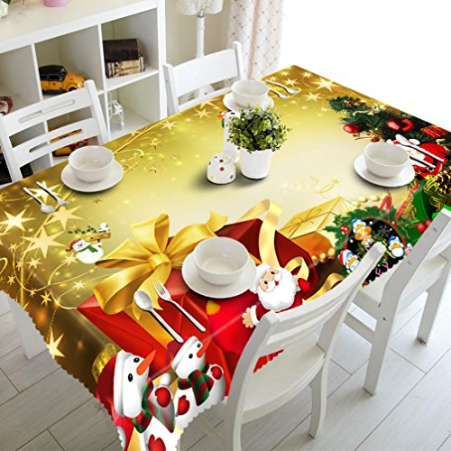 Merry Christmas, Anshinto Rectangular Printed Fabric Party Picnic Tablecloth 50130cm (D) (Printed Table Picnic)