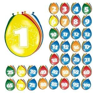 8 Globos número 90 Cumpleaños de colores