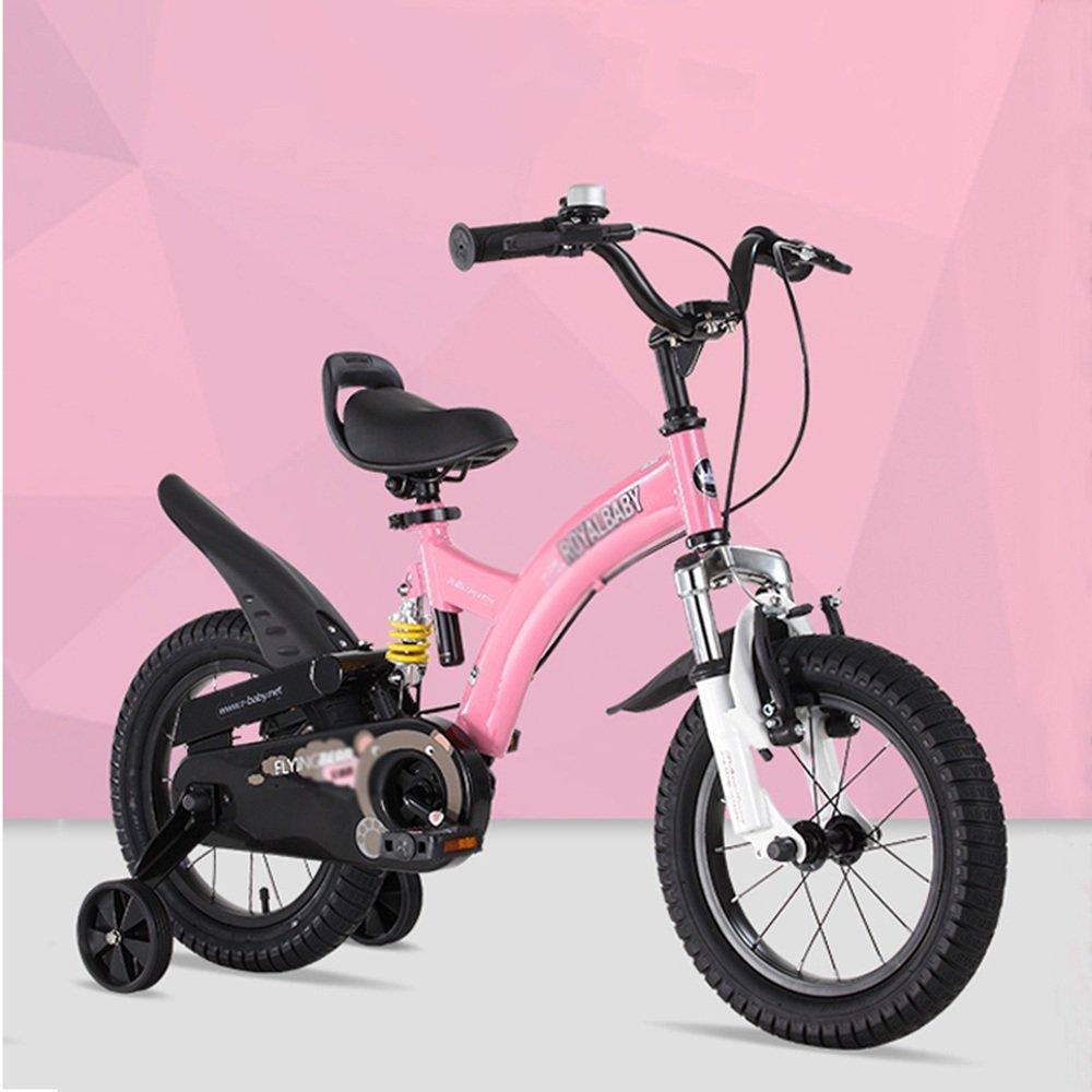 HAIZHEN マウンテンバイク ボーイチャイルドバイクショックアブソーバーベビーカーショックバイク 新生児 B07C6WVPB6 12Inch|ピンク ぴんく ピンク ぴんく 12Inch