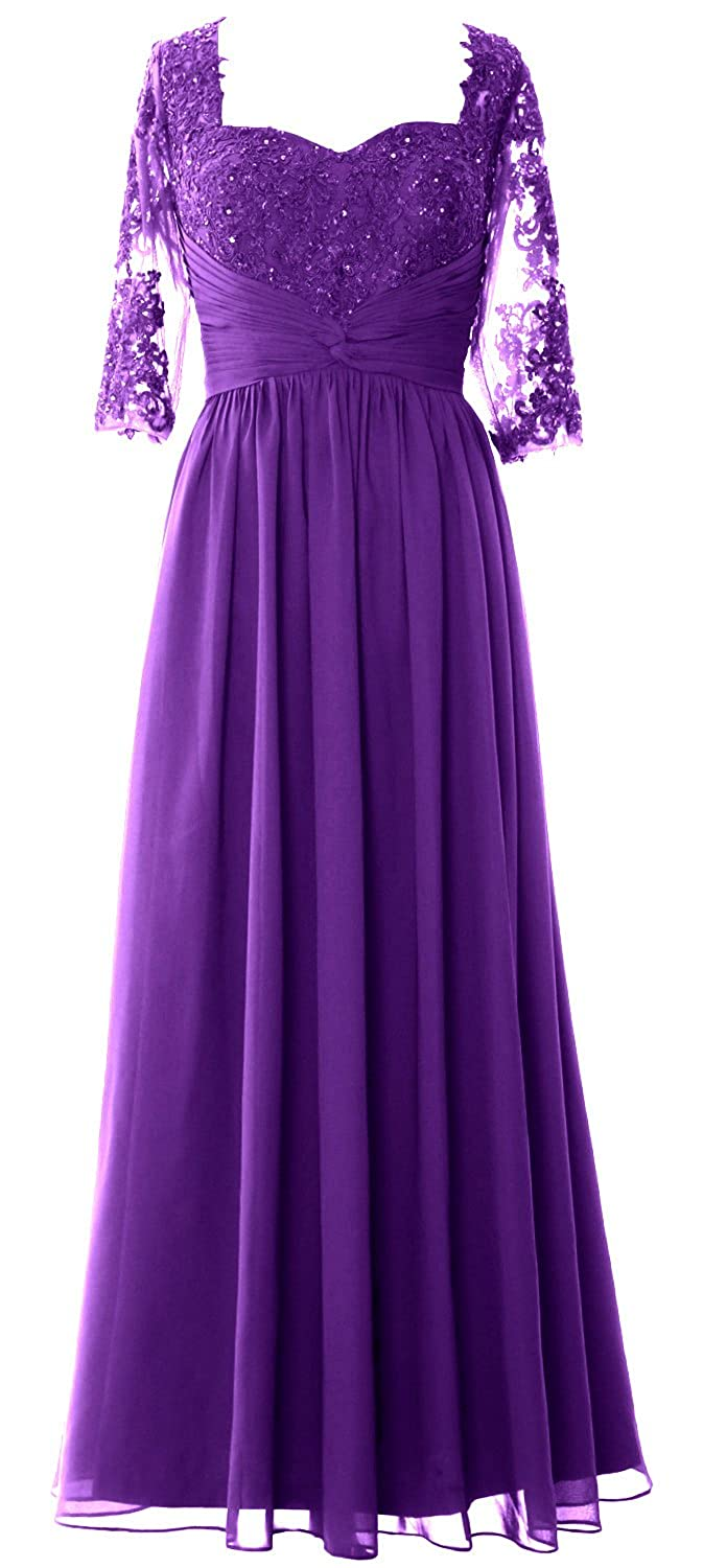 MACloth Women Mother of The Bride Dresses Half Sleeves Lace Formal Evening Gown