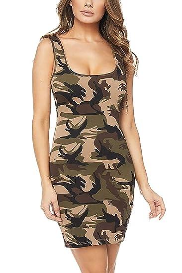 2a89b071348 Tootless-Women Sexy Camouflage Cami Sleeveless Club Mini Dress at Amazon  Women s Clothing store