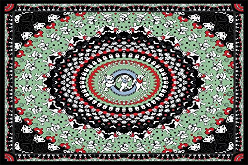 - Sunshine Joy Grateful Dead Dancing Bear Tapestry Tablecloth Wall Art Beach Sheet Huge 60x90 Inches - Black & Green