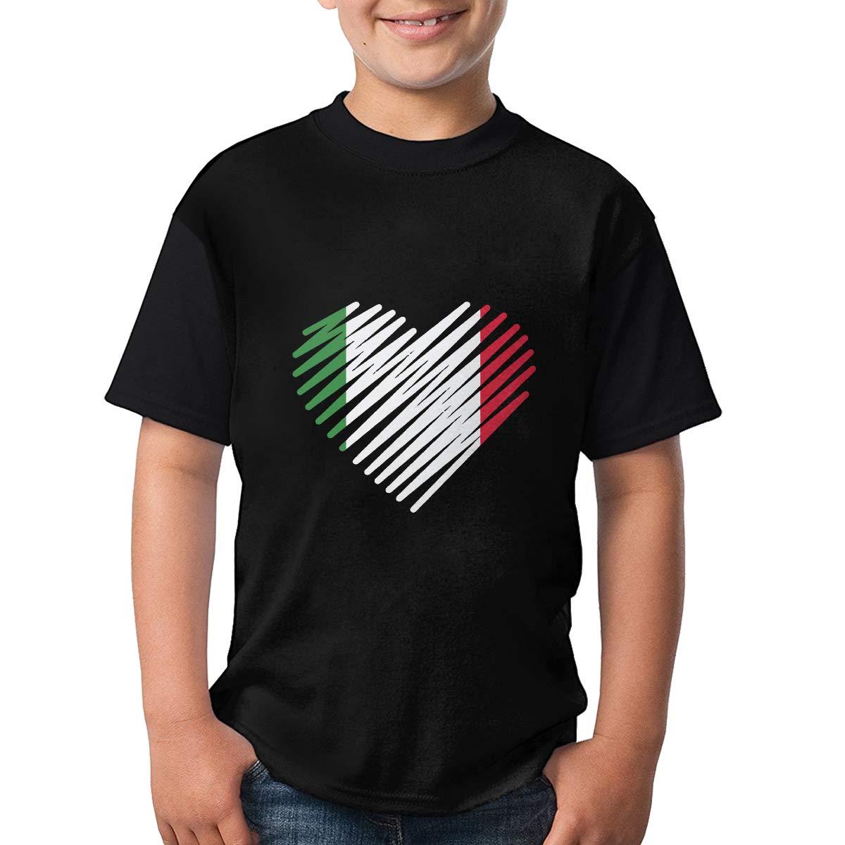 Love Italy Heart Short Sleeve Tee Funny Crew Neck Tee for Teenagers
