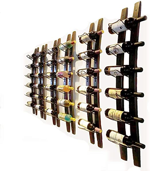 Amazon Com Wall Mounted Wine Rack Wooden Barrel Stave Wine Rack Wood Wine Bottle Holder Rack Imported Pine Wood And Metal 6 Bottles 40x7 6inch Red Wine Color Kitchen Dining