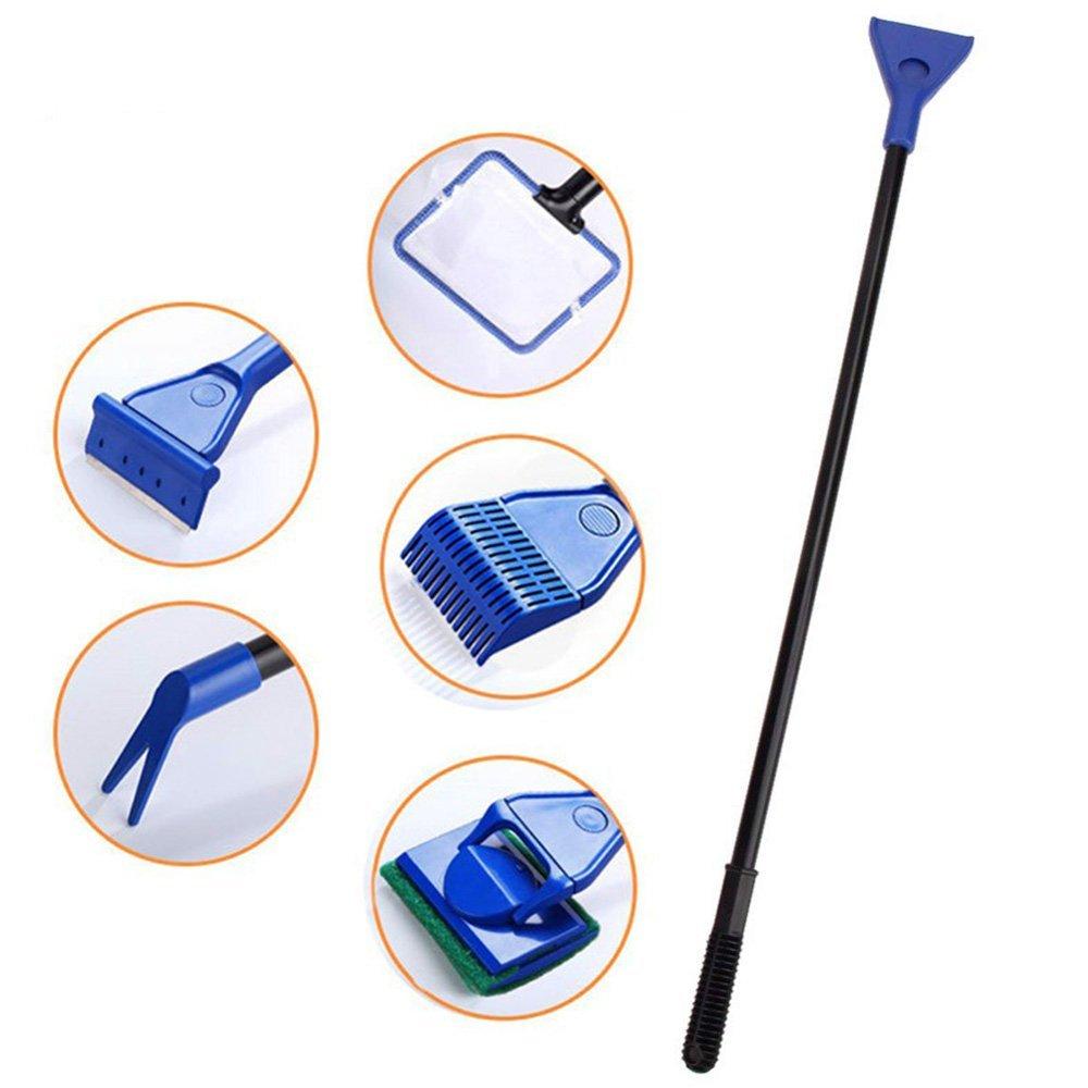 JunBo - Kit de Limpieza para Tanque de Peces 5 en 1 con rastrillo de Grava, rascador de Algas, Cepillo de Esponja de Cristal, Tenedor para Plantas de Agua y Red para Acuario