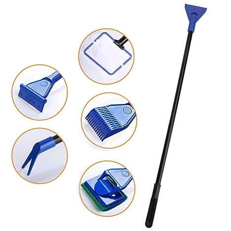 JunBo - Kit de Limpieza para Tanque de Peces 5 en 1 con rastrillo de Grava, ...