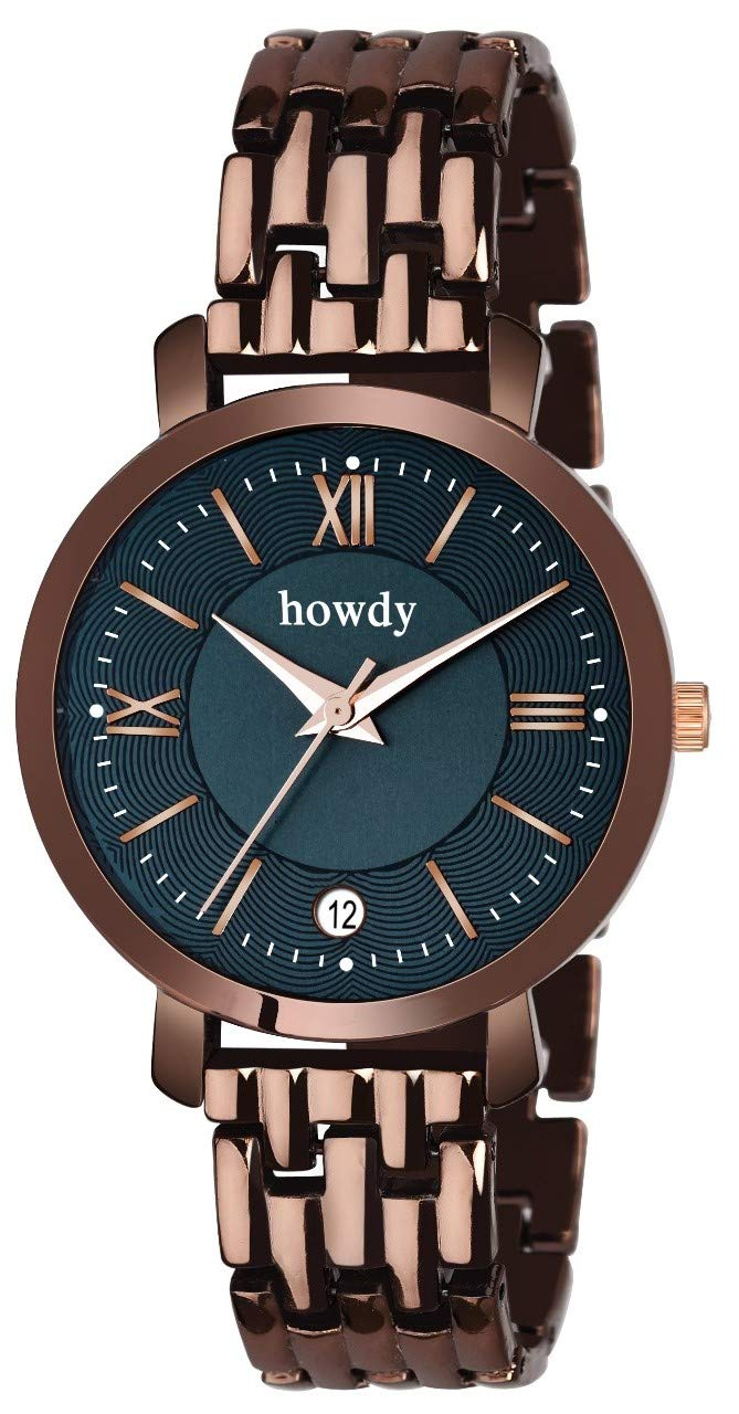 Howdy Stylish Brown Stainless Steel,Date Watch for Women & Girls product image
