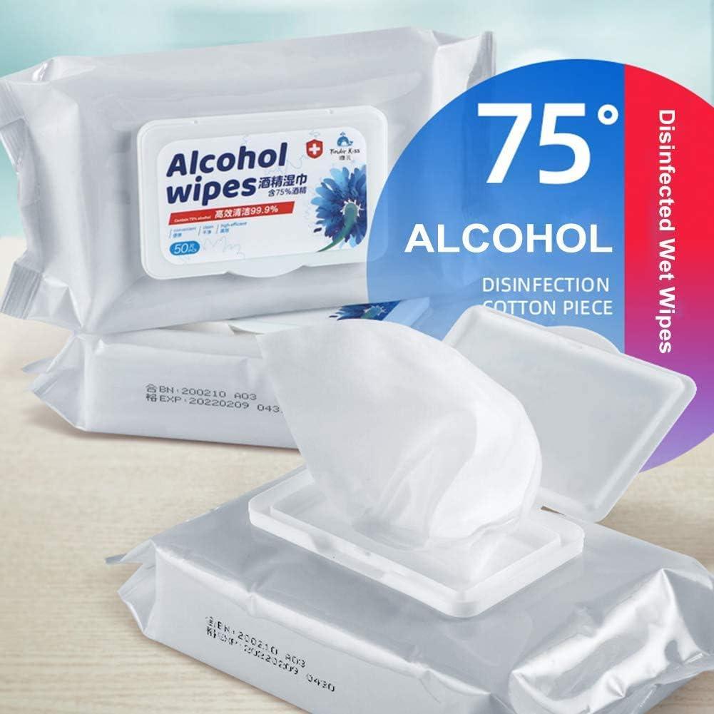 Autom/óvil Toallitas H/úmedas Desechables con Alcohol al 75/% Toallitas Manos Toallitas de Limpieza esterilizadas para Manos 50 piezas 1 Paquete Oficina Muebles