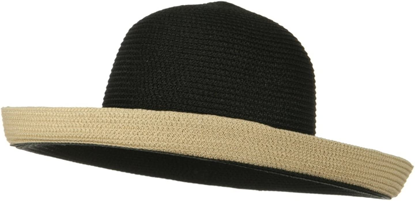 9e8dce5da Jeanne Simmons Two Tone Wide Tan Kettle Brim Hat - Black at Amazon ...