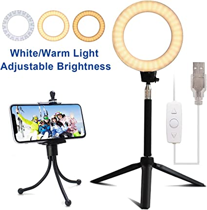 LED Ring Light With Tripod Stand Selfie Stick 6 Inch Dimmable Floor Table Annula