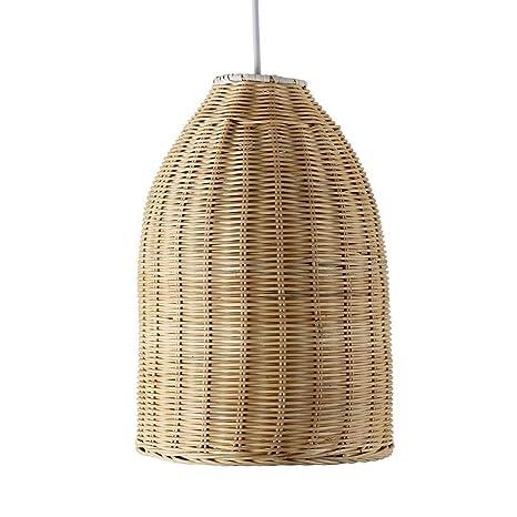 MiniSun - Moderna pantalla para lámpara de techo Chianti, de cesta de mimbre natural