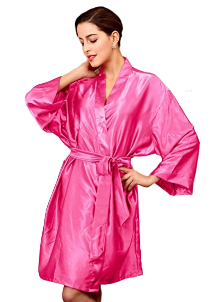 b7765b439 Liveinu Women's Kimono Robe Knee Length Lingerie Sleepwear Short Satin Rose  Red One Size: Amazon.ca: Clothing & Accessories