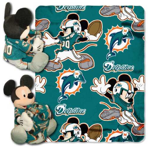 The Northwest Company Officially Licensed NFL Miami Dolphins Co Disney's Mickey Hugger - Pillow Northwest Miami Dolphins