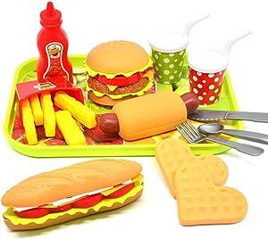 CAILLU Toddler Girls Toys Play Food Pretend Set,Food Green stem Kids Toys Burger,Boys Pretend Play