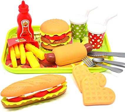 CAILLU Play Food Pretend Set,Kids Food Green stem Toys Burger,Girls Toys,boy Pretend Play