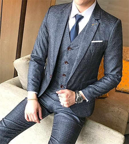FOLOBE Mens 3-Piece Suit Single Breasted One Button Business Blazer Jacket, Grey by FOLOBE (Image #2)