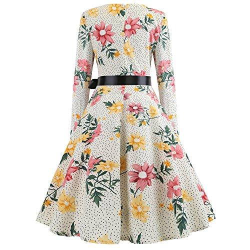 Mecohe Vestiti Anni '50 Vintage Vestito da Audery Stampato Floreale 1950 Retr