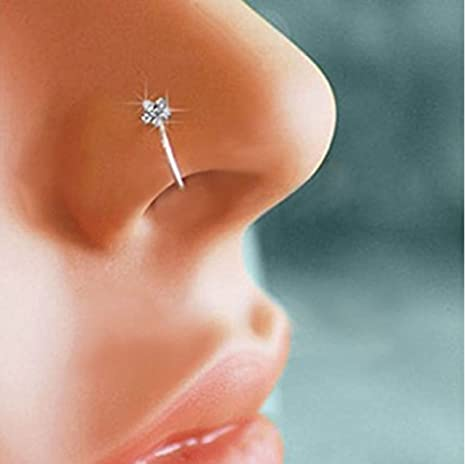 Lmciezr Small Flower Crystal Nose Ring Hoop Sparkly Crystal Nose