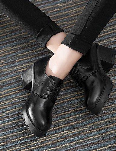 NJX/ hug Damenschuhe-High Heels-Lässig-Kunstleder-Blockabsatz-Rundeschuh-Schwarz / Rot / Grau black-us6.5-7 / eu37 / uk4.5-5 / cn37