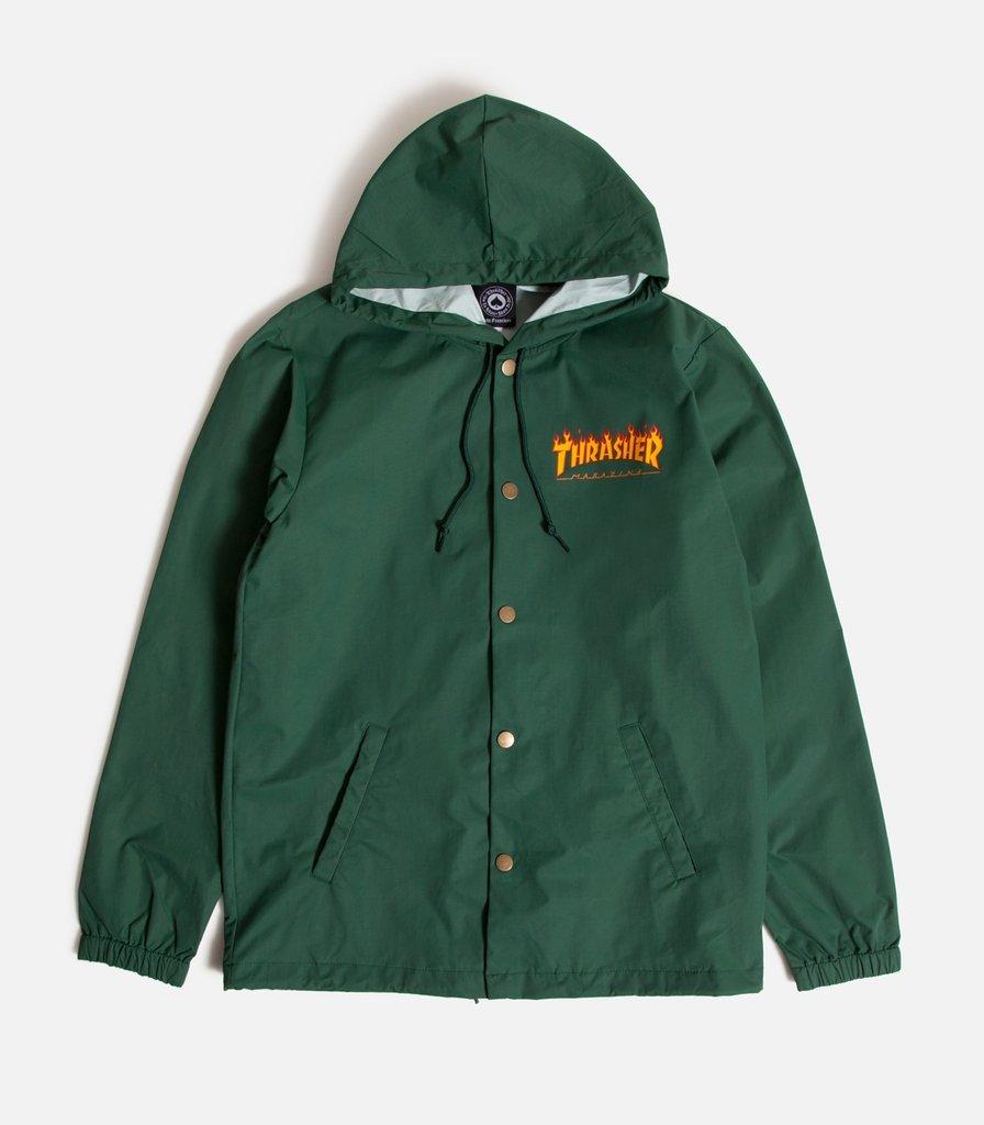 Thrasher Skateboard Magazine Flame Logo Hooded Coach Jacket (Green) (X-Large)