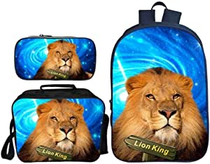 Asdfnfa Backpack Children's Three-Piece Suit 3D Printing Starry Sky Lion King Primary School Bag with Lunch Bag and Pencil Case (Color : 3)