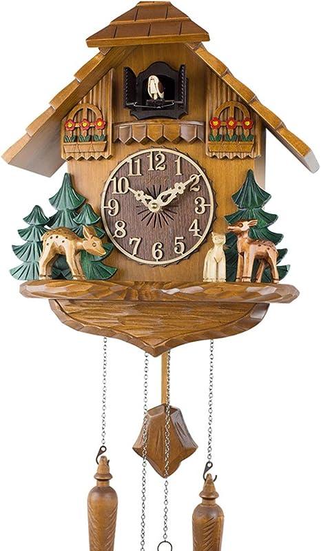Reloj De Cuco Con Péndulo Cuco Con Control De La Hora Y Tallado A Mano Reloj De Pared Para Casa De Madera Apto Para Niños Home Kitchen