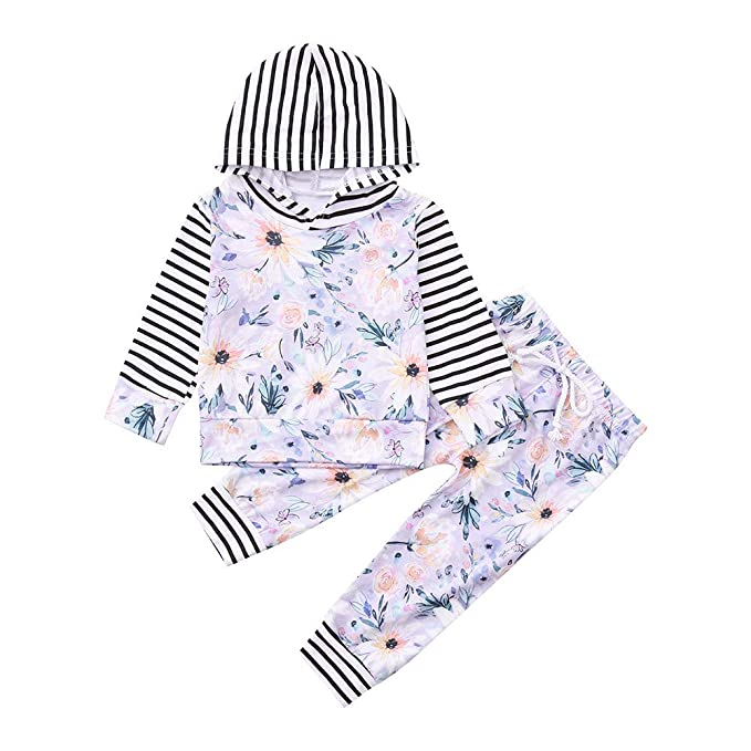 K-youth Conjuntos Bebe Niña Ropa Bebé Niña Sudaderas con Capucha Flor Rayas Camisetas de Manga Larga Tops y Pantalones Otoño Conjuntos de Ropa de Invierno: ...