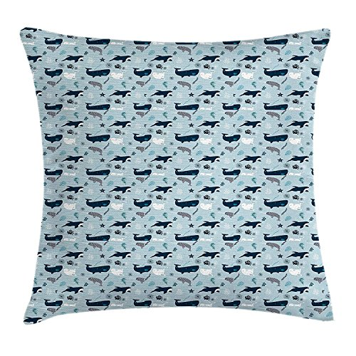 Riolaops Under The Sea Throw Pillow Cushion Cover, Orcas Narwhals and Whales Cartoon Style Hand Drawn Composition, Decorative Square Accent Pillow Case, 18 X 18 inches, Dark Blue Baby Blue (Best Headphones Under 25s)