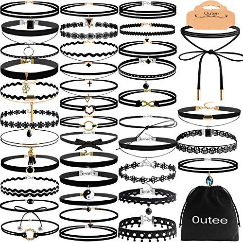 Choker Necklace Set, Outee 42 Pcs Black Choker Necklace Women Choker Velvet Tattoo Necklaces Classical Gothic Chokers