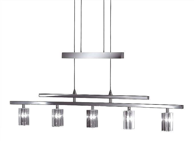 WOFI 7821.05.01.0400 - Lámpara metálica de techo de 5 luces, casquillo G4, 20 W, 12 V, 91,5 x 20 x 10 cm