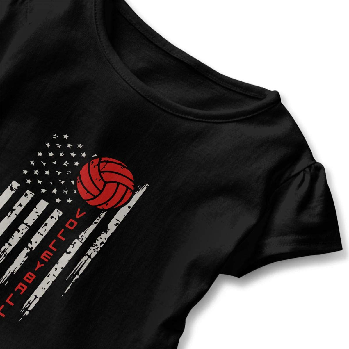 Volleyball American Flag Red Line Toddler Baby Girls Short Sleeve Ruffle T-Shirt