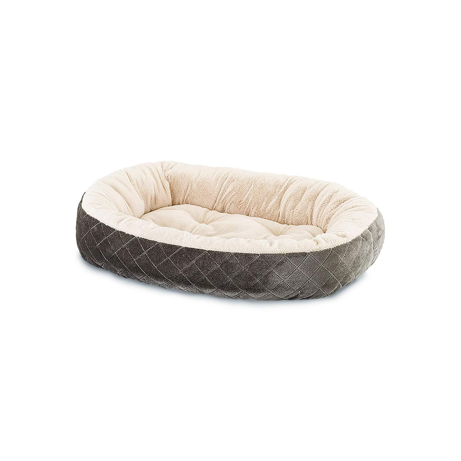 Ethical Pets Sleep Zone Quilted Oval Cuddler Pet Bed, 26 , Light Grey