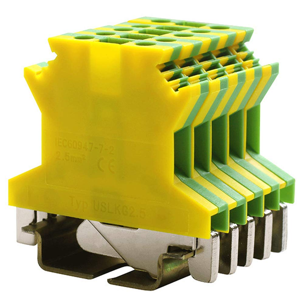 Erayco USLKG2.5N DIN Rail Mounted Ground Circuit Connection Terminal Block, 600V 20A, 24-12 AWG, Screw Clamp (Pack of 50)