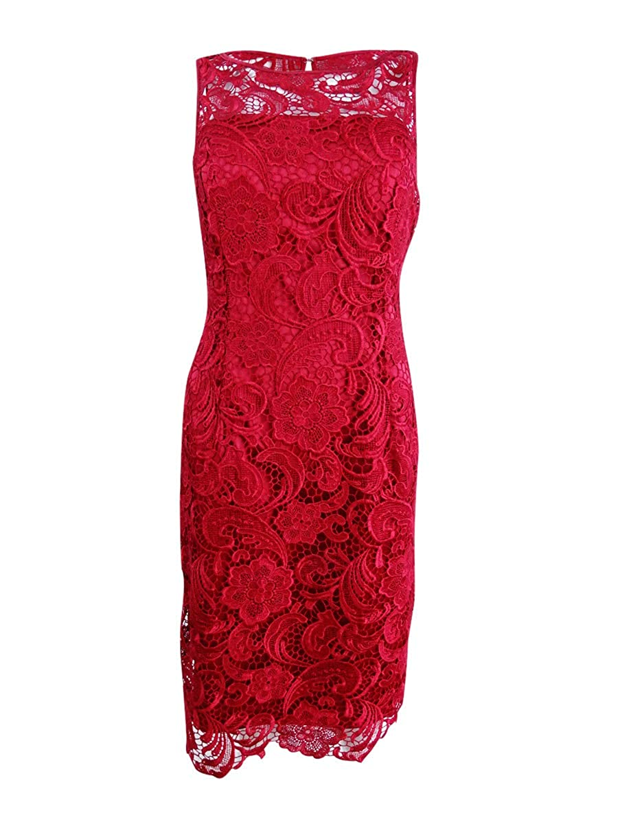 Cherry Adrianna Papell Women's Illusion Neck Lace Dress