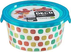 علبة حفظ طعام دائرية بتصميم منقط ديكو شيف من كيرفر، 0.5 لتر - ابيض وازرق
