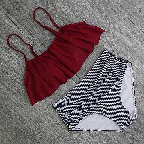 Vazan - Abiti Set Bikini Bikini Donne Costumi da Bagno Vita Alta Swimsuit Halter Retro Facendo Il Bagno pi¨´ Il Formato Swimwear [S YS987Y1]