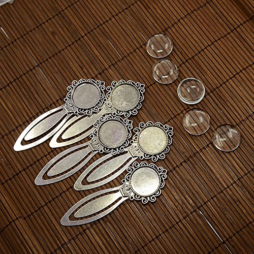 - Pandahall 5Sets Flat Round 20mm Antique Silver Portrait Bookmark Makings Sets with Alloy Cabochon Bezel Blank Cover Settings & Domed Transparent Clear Glass Cabochons Magnifying Photo Image Tiles