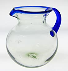 Mexican Glass Margarita or Juice Pitcher, Blue Rim, Bola or Bowl Shape 4+ Quarts