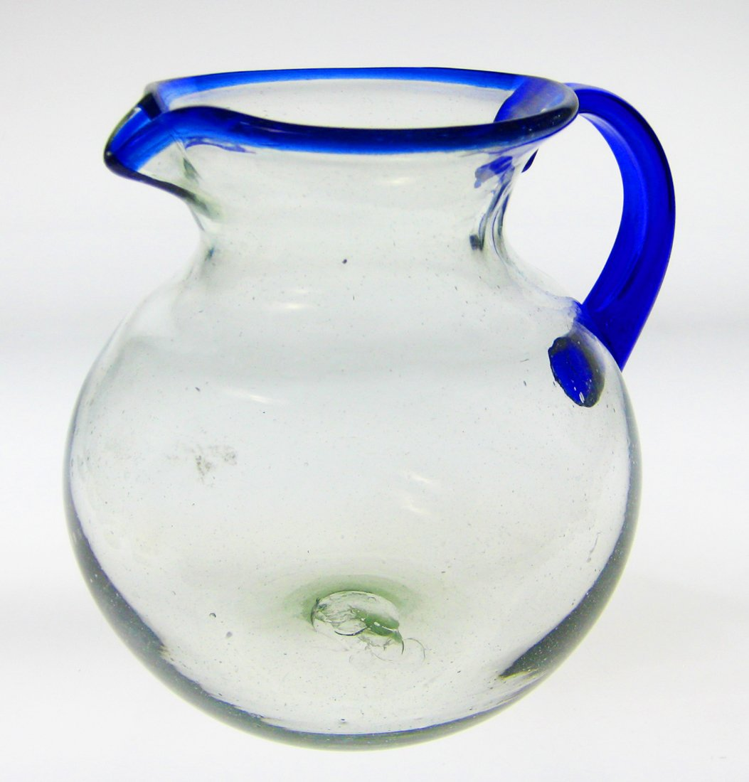 Mexican Glass Margarita or Juice Pitcher, Blue Rim, Bola or Bowl Shape 4+ Quarts